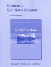 Marvin L. Bittinger Student`s Solutions Manual for Elementary and Intermediate Algebra