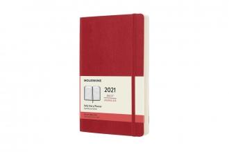 , Moleskine 12 MND Agenda - 2021 - Dagelijks - Large (13x21 cm) - Scarlet Rood - Zachte Kaft