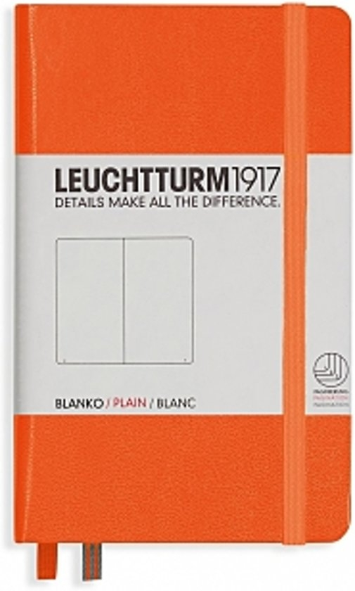 Lt342932,Leuchtturm notitieboek pocket 90x150 blanco oranje