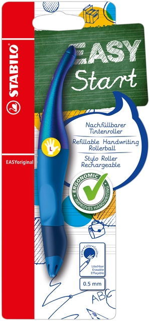 ,Rollerpen STABILO Easyoriginal linkshandig blauw holograph edition blister