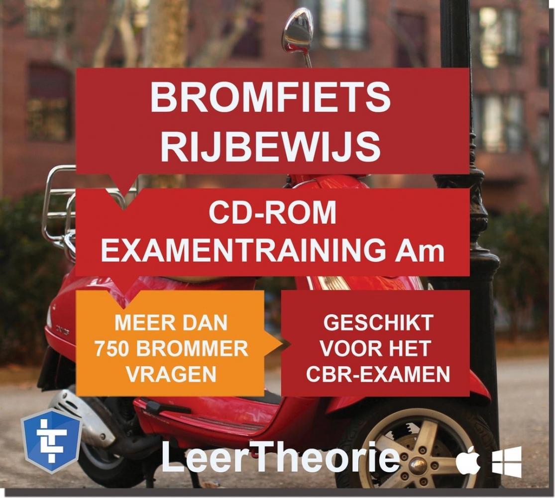 ,Scooter Rijbewijs Am - CD-ROM 2020 Bromfiets Examentraining Am - 750 oefenvragen - 15 Theorie Examens - Ontworpen voor het CBR theorie-examen