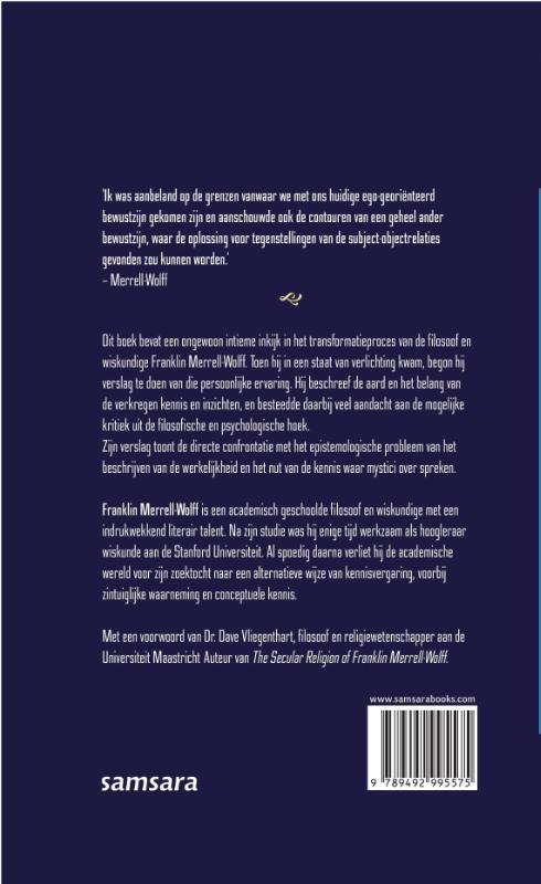 Franklin Merrell-Wolff,Filosofie en ervaring van verlichting