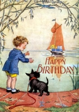 Boy and Scottie Dog Awaiting Birthday Boat Birthday Greeting Cards [With Envelope]