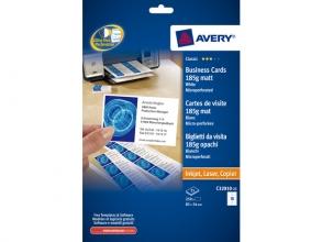 , visitekaartjes Avery 85x54mm 185gr wit 25 vel 10 kaarten    per vel