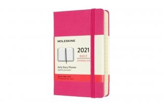 , Moleskine 12 MND Agenda - 2021 - Dagelijks - Pocket (9x14 cm) - Bougainvillea Pink - Harde Kaft