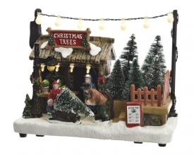 , Kersttafereel led kerstboomverkoop