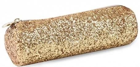 , Pennenzak rond 21 cm sparkle goud glitter