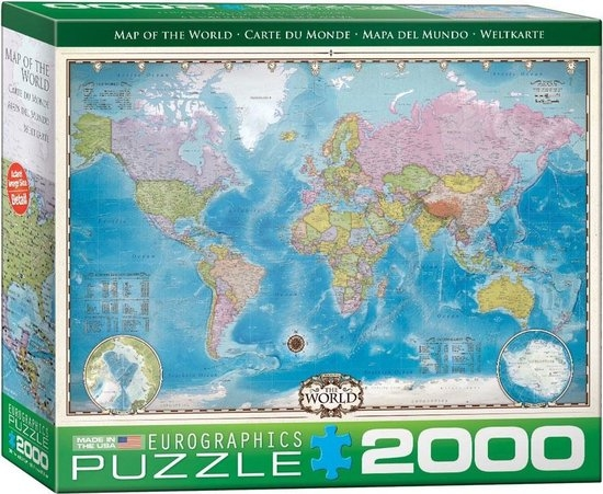 Eur-8220-0557,Puzzel map of the world - eurograpics - 2000 stuks