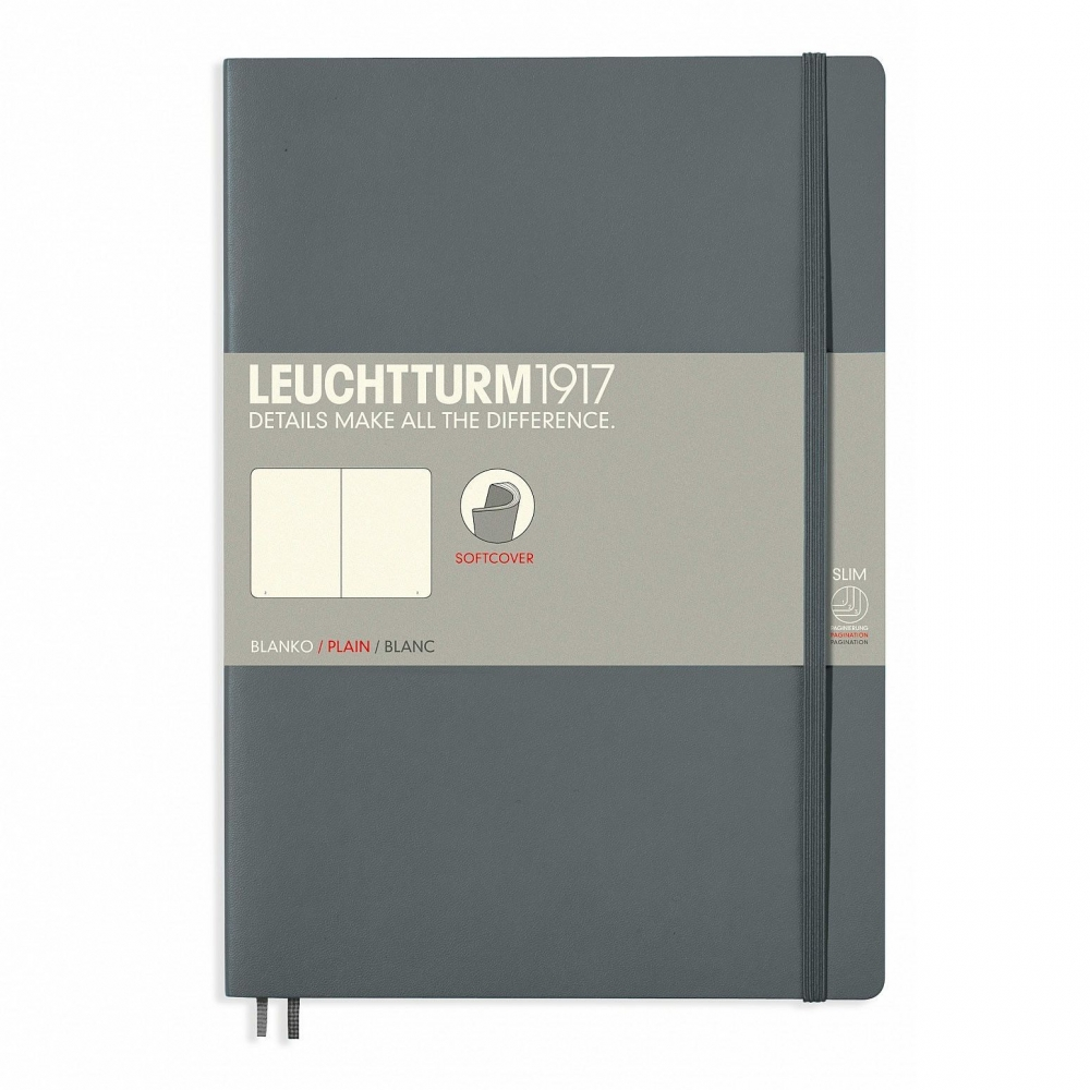 Lt355312,Leuchtturm notitieboek composition softcover 178x254 mm blanco anthraciet