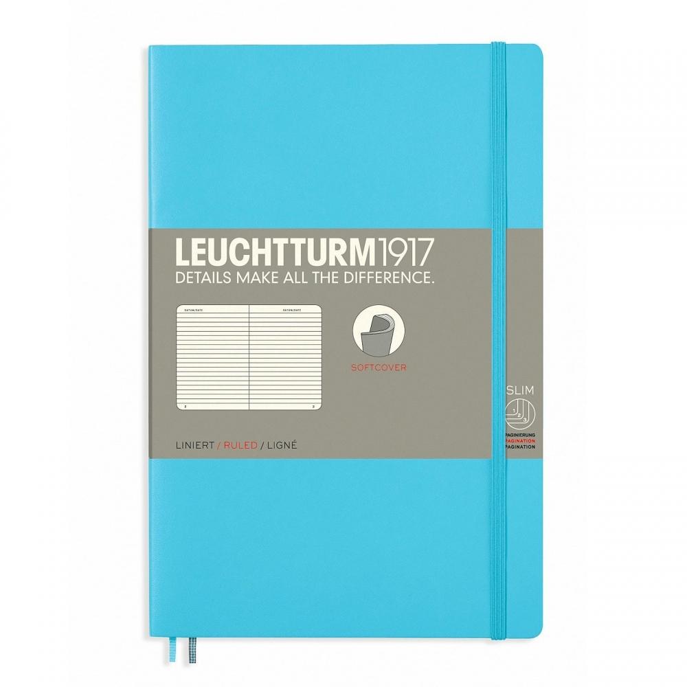 Lt358311,Leuchtturm notitieboek softcover 19x12.5 cm lijn ice blue