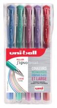 , Gelschrijver Uni-ball Signo Broad metallic etui à 5 kleuren