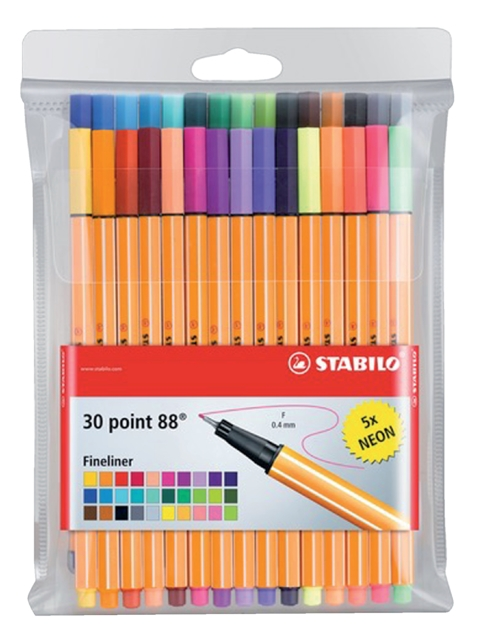 ,Fineliner STABILO point 88 etui à 30 kleuren
