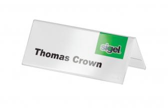 , tafelkaartje Sigel 100x60mm glashelder dakvorm doos a 10    stuks