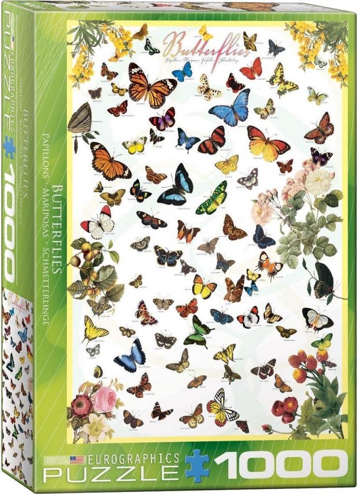 Eur-6000-0077,Puzzel eurographics butterflies 1000 stukjes 48x68 cm