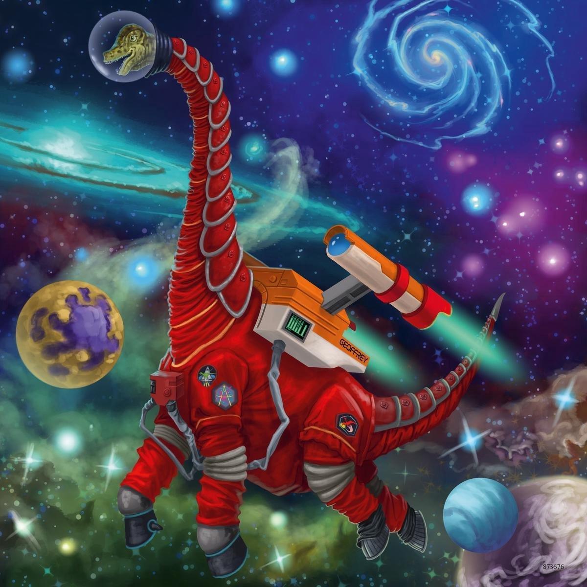 ,Puzzel ravensburger dinosauries in de ruimte 3x49 stukjes