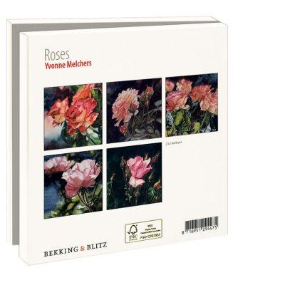 Wmc810,Notecard pak 10 stuks 15 x15 cm rozen yvonne melchers
