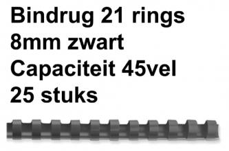, Bindrug Fellowes 8mm 21rings A4 zwart 25stuks