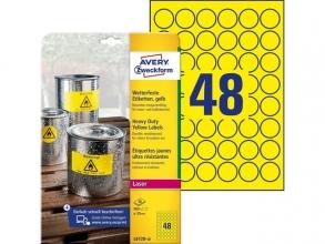 , laseretiket Avery rond 30mm geel 20 vel 48 etiketten per vel