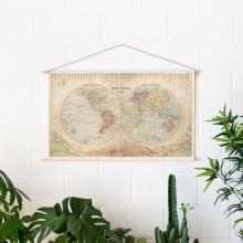 , Wereldkaart katoenen cotton map Rivers & Mountains