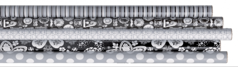 , Inpakpapier hoomark 200x70cm black & white assorti