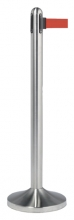 , Afzetpaal Securit RVS met rolband 210cm rood