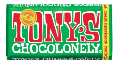 , Chocolade Tony`s Chocolonely reep 180gr melk hazelnoot