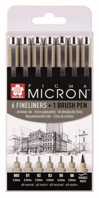 ,Fineliner Sakura Pigma Micron ass + brushpen zwart