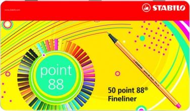 , Fineliner STABILO point 88 blik à 50 stuks kleuren