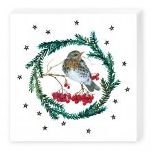 , Kerstservetten vogel in krans - 33x33cm