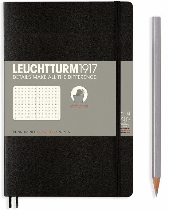 Lt358291,Leuchtturm notitieboek softcover 19x12.5 cm bullets/dots/puntjes zwart