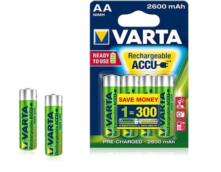 ,Batterij oplaadbaar Varta 4xAA 2600mAh ready2use