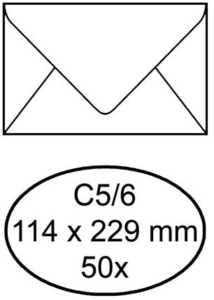 ,Envelop buro1 bank c5/6 114x229 zk 80gr 50st wit