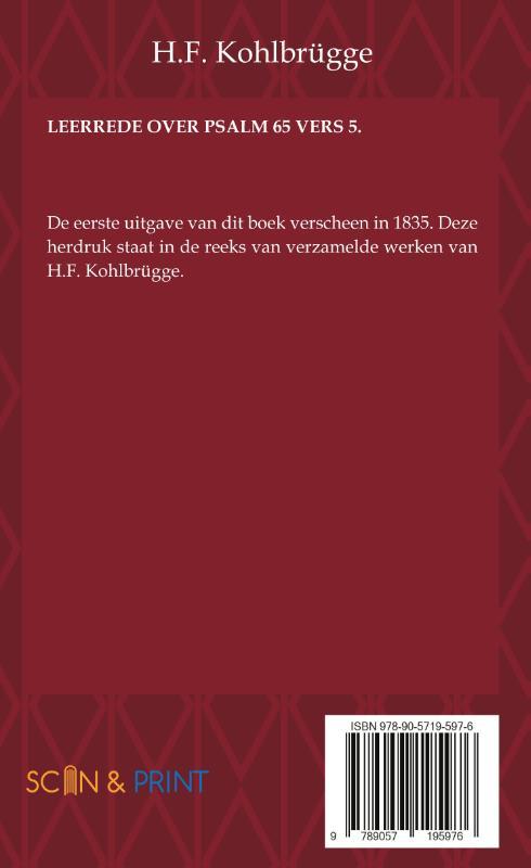 H.F. Kohlbrügge,Leerrede over Psalm 65 vers 5