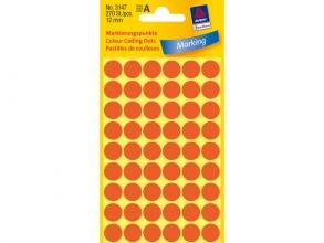 , Etiket Avery Zweckform 3147 rond 12mm lichtrood 270stuks