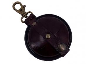 , sleutelhanger Mika klein zadelleer opbergvak voor munten.   bruin