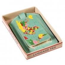 Bagagelabel vintage world map