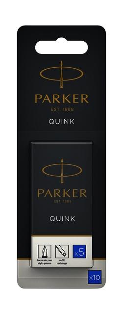 ,Inktpatroon Parker Quink uitwisbaar blauw blister à 10 stuks