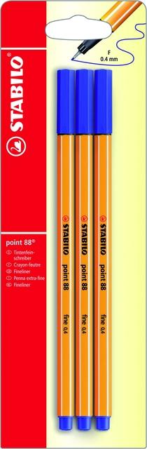 ,Fineliner STABILO Point 88 blister à 3 stuks blauw
