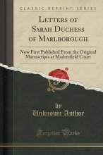 Author, Unknown Letters of Sarah Duchess of Marlborough