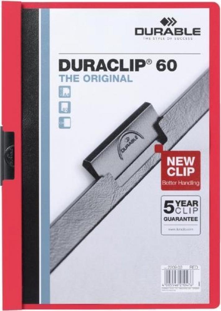 ,Klemmap Durable Duraclip A4 6mm 60 vellen rood