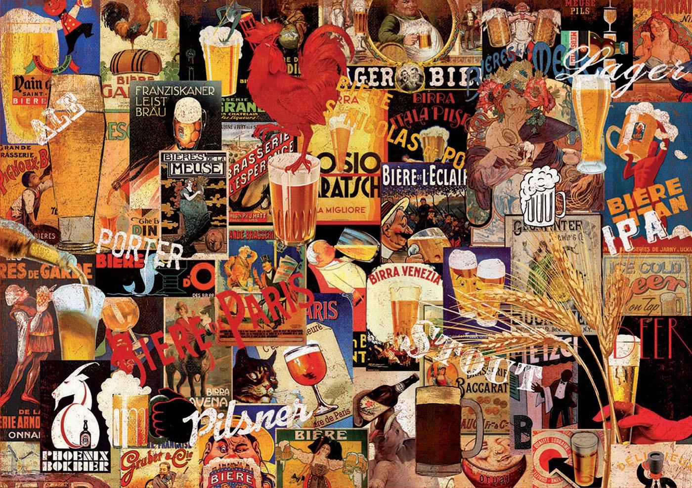 Edu-17970,Puzzel vintage beer collage- educa - 1000 stuks 68x48 cm