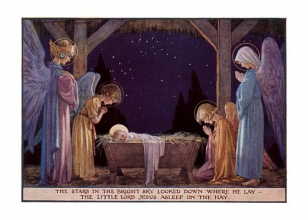 Angels at Manger of Baby Jesus - Christmas Cards