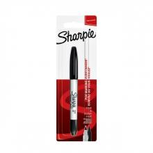 , Viltstift Sharpie twin tip rond 0.5mm en 0.9mm zwart blister à 1 stuk