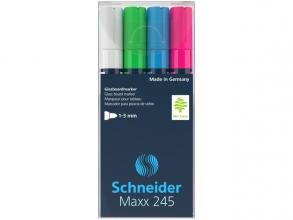 , Marker Schneider Maxx 245 4st.  in etui, zwart, groen,      blauw, rood