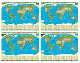 SET: Dierenwereldkaart geïllustreerd per 4 stuks