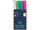 ,Marker Schneider Maxx 245 4st.  in etui, zwart, groen,      blauw, rood