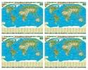 ,SET: Dierenwereldkaart geïllustreerd per 4 stuks