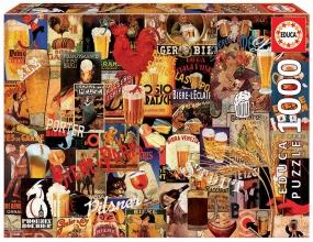 Edu-17970 , Puzzel vintage beer collage- educa - 1000 stuks 68x48 cm