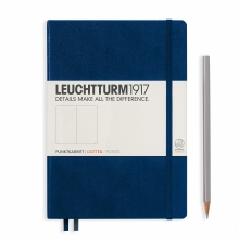 Lt342925 Leuchtturm notitieboek medium 145x210 dots / bullets marineblauw