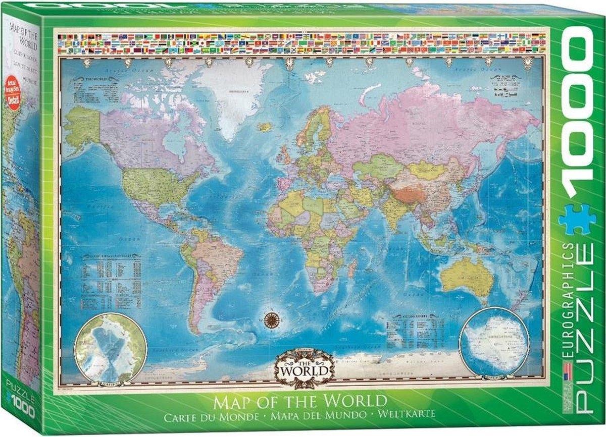 Eur-6000-0557,Puzzel 1000 stukjes map of the world